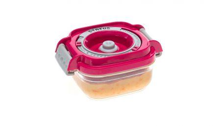Statusova vakuumska posuda za dječju hranu s ružičastim poklopcem.