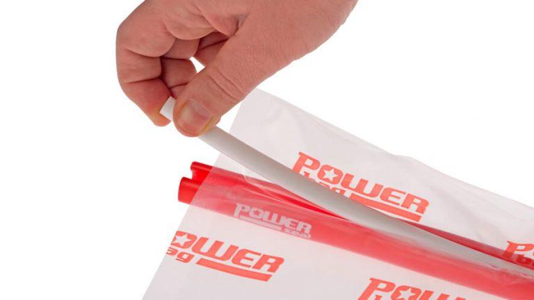 Prikaz zapiranja vrečke z zapiralom Power seal.