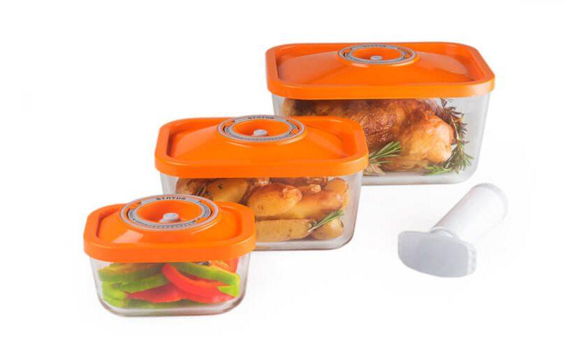 4-dijelni set staklenih vakuumskih posuda za pohranjivanje hrane i pečenje.
