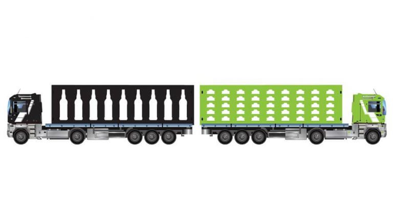 Skica kamionov s plastenkami