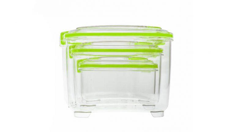 3-delni set višjih posod za shranjevanje Status z zelenimi ročkami pospravljen v največjo posodo seta